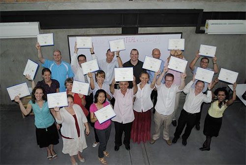 A group of certified ELS teachers in Thailand.