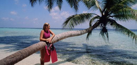 Woman at a beach in Thailand.