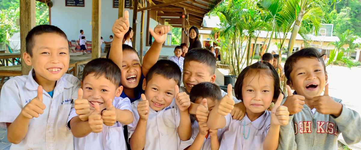Thai children learning English.